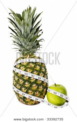 Pineapple And Green Apple In Measuring Tape