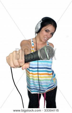 Attractive Brunette With Headphones And A Microphone (2)