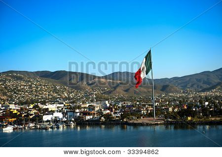 Port Of Ensenada And Mexican Flag
