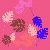 Palm, Banana Leaves Vector Seamless Pattern, Blue Pink Purple Indigo Floral Textile. Hand Painted Ju poster