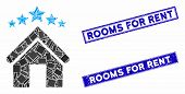 Mosaic Apartment Stars Pictogram And Rectangular Seal Stamps. Flat Vector Apartment Stars Mosaic Ico poster