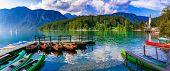 Idyllic nature scenery - beautiful magic lake Bohinj in Slovenia, Triglav national park poster