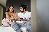 Relationship Difficulties. Young Couple Having Problems And Conflicts poster