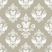 Classic Seamless Vector White Pattern. Damask Orient White Ornament. Classic Vintage Background. Ori poster