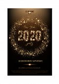 New Year Disco Party Invitation. Nightclub Flat Editable Flyer. Winter Holidays Celebration. Glowing poster