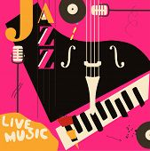 Jazz Music Festival Poster With Piano And Microphone Flat Vector Illustration Design. Colorful Music poster