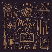 Witchcraft, Magic Background For Witches And Wizards. Wicca And Pagan Tradition. Vector Vintage Coll poster