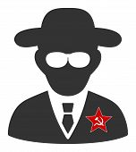 Kgb Spy Raster Icon. Flat Kgb Spy Symbol Is Isolated On A White Background. poster