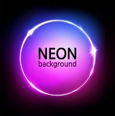 Neon Circle Background. Glowing Round Frame. Neon Lights In Pink, Blue, Purple Vibrant Colors. Abstr poster