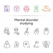 Mental Disorder Studying Line Icon Set. Psychologist, Hypnosis, Metronome. Psychology Concept. Can B poster