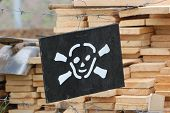 stock photo of landmines  - Land mine warning sign - JPG