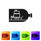 Black Glass Bottle With Ship Inside Icon Isolated On White Background. Miniature Model Of Marine Ves poster
