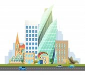 Big City With Skyscrapers And Small Houses. Highway With Cars. Vector Flat Illustration. Business An poster