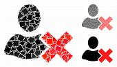 Delete User Mosaic Of Tremulant Parts In Various Sizes And Color Hues, Based On Delete User Icon. Ve poster
