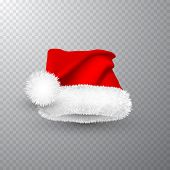 Realistic Red Santa Claus Hat Isolated On Gray Transparent Background. Gradient Mesh Santa Claus Cap poster