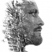 Paintography. Double exposure portrait of a man with strong features combined with handmade painting poster