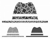 Hat Mosaic Of Tuberous Elements In Variable Sizes And Color Tones, Based On Hat Icon. Vector Ragged  poster