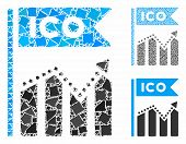 Ico Chart Composition Of Rugged Elements In Different Sizes And Color Tones, Based On Ico Chart Icon poster