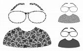 Clever Spectacles Mosaic Of Tremulant Pieces In Different Sizes And Color Tinges, Based On Clever Sp poster