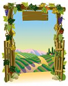 Raster version of vector image of the vintage wooden gate with grapes and sunlit vineyard with a roa