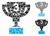 Third Prize Cup Mosaic Of Uneven Parts In Variable Sizes And Color Tinges, Based On Third Prize Cup  poster