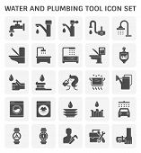 Faucet And Water And Plumbing Tool Vector Icon Set Design poster