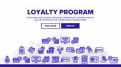 Loyalty Program Bonus Landing Web Page Header Banner Template Vector. Bag And Market With Percentage poster