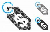Dollar Tag Mosaic Of Rough Elements In Variable Sizes And Shades, Based On Dollar Tag Icon. Vector A poster