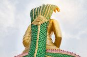 Images From The Back Of The Statue Of A Large Buddha Statue Sitting In Meditation. Sky, Is Respected poster