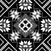 Geometric Tribal Black And White Modern Seamless Pattern. Vector Ornamental Ethnic Style Background. poster
