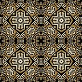 Abstract Floral Ethnic Style Vector Seamless Pattern. Tribal Ornamental Background. Geometric Repeat poster
