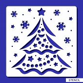 New Years Decoration - Stencil With Christmas Tree, Stars, Balls, Garlands And Snowflakes. Template  poster