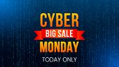 Cyber Monday, Big Discount Banner On Techno Background And Binary Code. The Concept Of A Festive Onl poster
