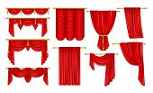 Set Of Realistic Open Red Curtain With Eaves. Velvet Theater Decoration For Stage Acting, Fabric Bac poster