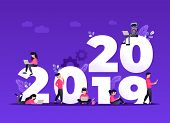 Flat Design New Year Vector Concept. Preparing To Meet 2020 New Year. Business People With The Numbe poster