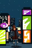A Young Guy In Modern Street Clothes Is Standing Against The Lights Of A Night Metropolis. Vector Il poster