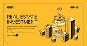 Real Estate Investment Isometric Landing Page, Dollar Coins Falling To Huge Jar Surrounded With City poster