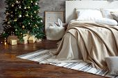Christmas Apartment Decor, Scandinavian Cozy Home Decor, Bed With Warm Knitted Blankets Next To The  poster