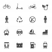 Eco Transport Vector Icons Set Isolated On White Background. Electric Ecological Transport Comcept.  poster