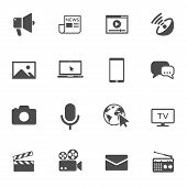 Mass Media Vector Icons Set Isolated On White Background. Media Business Concept. Media Flat Icons F poster