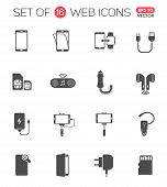 Smartphone Accessories Icon Set. Smartphone Accessories Vector Icons For Web, Mobile And User Interf poster