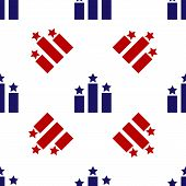 Blue And Red Ranking Star Icon Isolated Seamless Pattern On White Background. Star Rating System. Fa poster