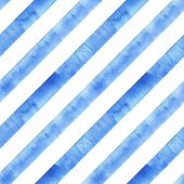 Watercolor Blue Navy Diagonal Stripes On White Background. Striped Seamless Pattern. Watercolour Han poster