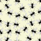 picture of blowfly  - Editable vector seamless tile of common flies - JPG