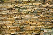 Stone Wall. Wall Masonry Made Of Hewn, Wet Wild Stone. Stone Background. Stone Texture For Creativit poster