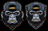 Cool Monkey Mascot. Angry Chimp Head In Baseball Cap Vector Illustration. Dangerous Mammal Badge. Ap poster