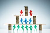 Corporate Hierarchy Concept With Stacked Of Coins And Colorful Human Figures Against Colored Backgro poster