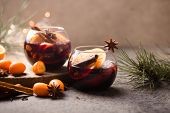 Christmas Mulled Red Wine. Christmas Mulled Wine Delicious Holiday Like Parties With Orange Cinnamon poster