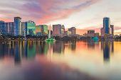 Orlando, Florida, USA downtown city skyline from Eola Park at dusk. poster
