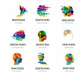 Brain, Creative Mind, Learning And Design Icons, Logos. Man Head, People Symbols poster